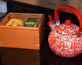 Mahogany and Maple Glass Top Tea Box