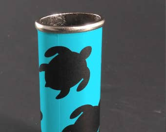 BIC Lighter Cover METAL w/ Vinyl Wrapped Metal Turquoise w/ Turtles