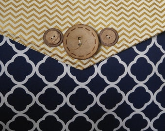Gender Neutral Diaper bag, Blue and Gold Chevron with Adjustable Straps