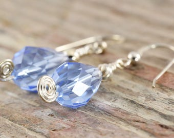 Blue crystal sterling silver earrings