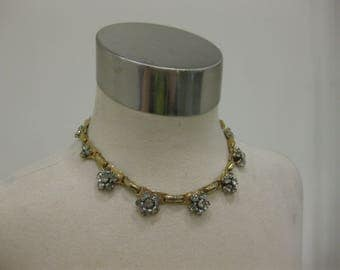 Beautiful Barclay Gold-Tone Flower Choker Necklace With Rhinestones
