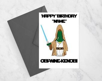 Obi-Wine-Kenobi Funny Greeting Card, Fathers Day Card, Star Wars Card, Card for Him