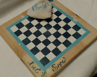 Handmade Checker Board with Bag of Checkers