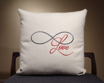 Infinity Home Decor Pillows, Infinity Love, Pillow Saying, Word Pillows, Text Pillows, Quote Pillows, Infinity Pillows, Red and Grey Pillows