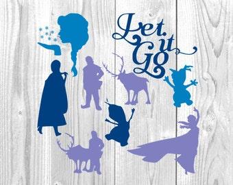 Frozen Design Collection, Anna, Elsa, Olaf, Let It Go, Disneyland, Disneyworld,  Disney Vacation, SVG, DXF, Png, Jpg, Eps, Cricut Design