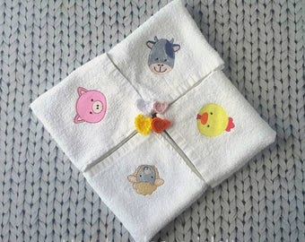 Baby mouth swab/spit cloth with embroidered application