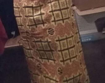 Rear pleated African print maxi skirt