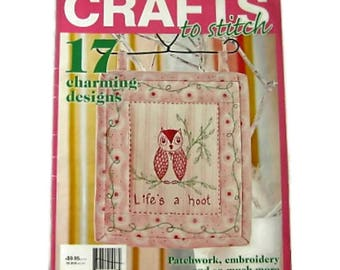 Crafts To Stitch Magazine - Quilting Patchwork Applique Embroidery Patterns - Craft Book with pattern sheets