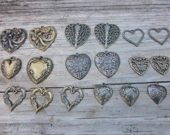 Brass heart charms // 23 Heart Charms // Assorted love charms