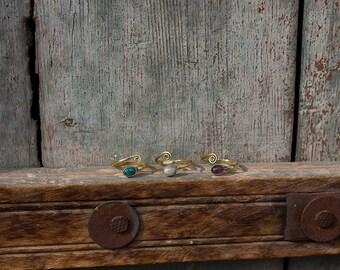 Toe Ring Brass Stones / Knuckle Ring Brass / Drealock Ring /  Bague d 'orteil en laiton et pierres / Bague de Phalange / Bague de dread