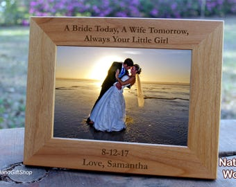 Father of the Bride Gift from Groom Wedding Parent Gift Personalized Engraved Wood Photo Frame Father of the bride frame
