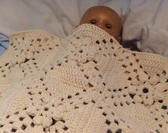 White flower doll blanket