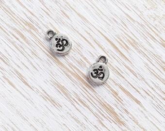 Tiny Antique Silver Om Charm 12mm / 2pc, Fine Silver Charm, Ohm Charm, Aum Beads, Buddhist Charm, Mindful Yoga Charms, Nunn Designs (ND012)
