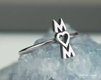 Sterling Silver Mom with Heart Ring Solid 925 Mother Ring Custom Sizes