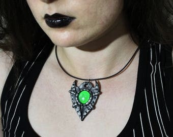 Cyberpunk, Green Horned Pendant