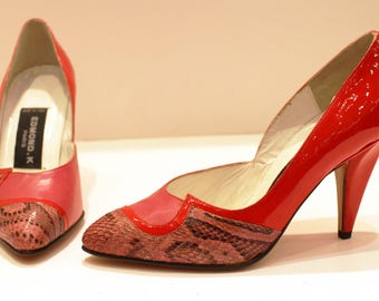 Varnished red pumps with pink python and pink leather/vintage 80's/made in Italy/high heels/Size US 4/UK 2/EDMONDK
