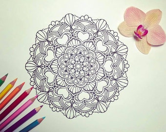 Balloon ride mandala colouring page, instant download. no: 59