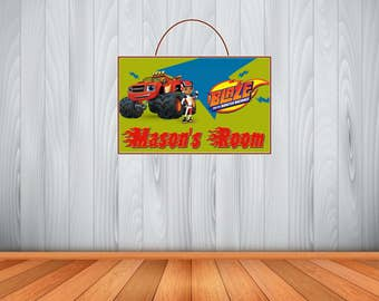 Personalized Blaze Sign, Personalized Blaze and the Monster Machines Sign, Blaze Personalized Wooden Name Sign, Room Decor, Birthday Gift