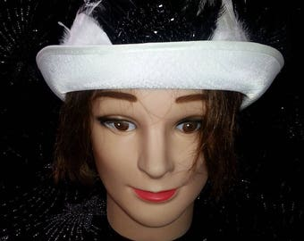 One of a Kind White Feather Bowler Hat w/ Black Beaded Detail