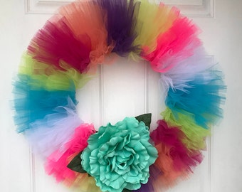 Handmade Tulle Wreath with Green Flower