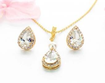 Bridesmaid jewelry, gold necklace set, wedding accessories, bridal jewelry set, bridesmaid gift, cubic zirconia set, wedding necklace set