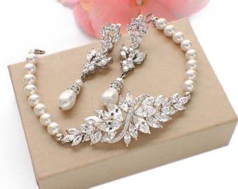 Pearl jewelry set, bracelet earring set, Swarovski pearl, cubic zirconia, pearl bracelet, pearl drop earrings, wedding bracelet and earrings