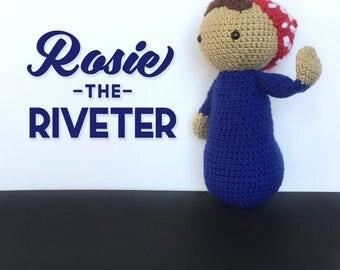 Rosie the Riveter Doll | We Can Do It | Handmade Baby Doll | Crochet Amigurumi |