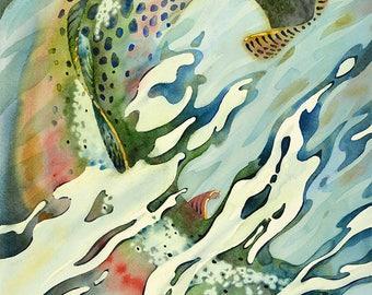 Fly Fishing Modern Watercolor Painting - Art Print - Shallow Run