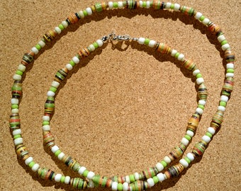 Handmade green - white recycled paper bead necklace