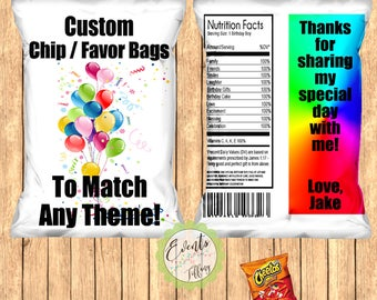 Custom Chip Bags, Custom Snack Bags, Custom Favor Bags, Custom Treat Bags-Print Set of 12