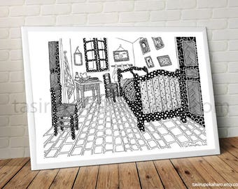 The Bedroom. Van Gogh. A3 Print. Art. Famous Painting. Famous Painter. Classic Art. Dots. Black and white. © FREE SHIPPING