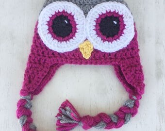 Pink and Gray Owl Hat, Newborn to Child Sizes