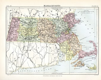 Map of Massachusetts. Original Antique print from the Ninth Edition of the Encyclopaedia Britannica (1875-1889).