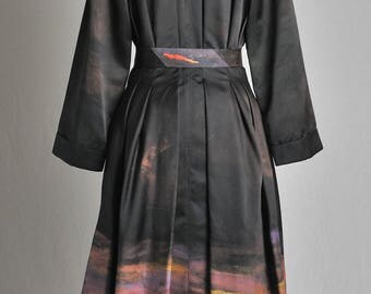 Dress coat painted and embroidered Silk Satin