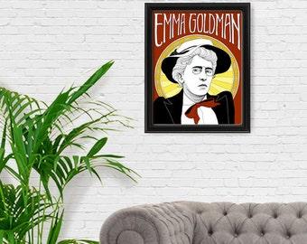 Emma Goldman Portrait Print, Feminist Art, Feminism, Anarchist, Giclee Art Print