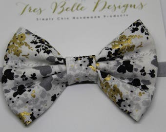 Black, Silver and Gold Floral Fabric Bow| Nylon Headband