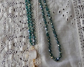 Teal Glass Bead Hand Knotted Necklace