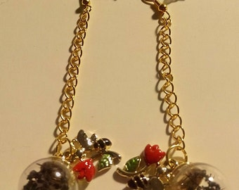 Bee Flower and Glass Globe Dangles