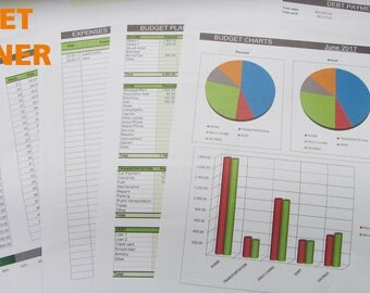 Budget planner, expenses and savings, debt payment tracker, charts (MS Excel file), easy to use digital spreadsheet, ready to print
