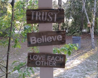 TRUST-Believe-LOVE Each Other, Pallet sign, Pallet art, Reclaimed pallet signn
