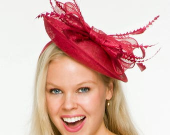 Poppy Maroon/ Cherry Fascinator, Millinery, Ascot Hat, Kentucky Derby Hat, Melbourne Cup Hat, Maroon Hat, British Wedding Hat, Tea Party Hat