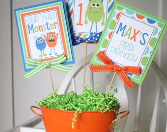 Monster Birthday Party Centerpiece Sticks, Little Monster Birthday Table Decorations, Monster Birthday Centerpiece Sticks