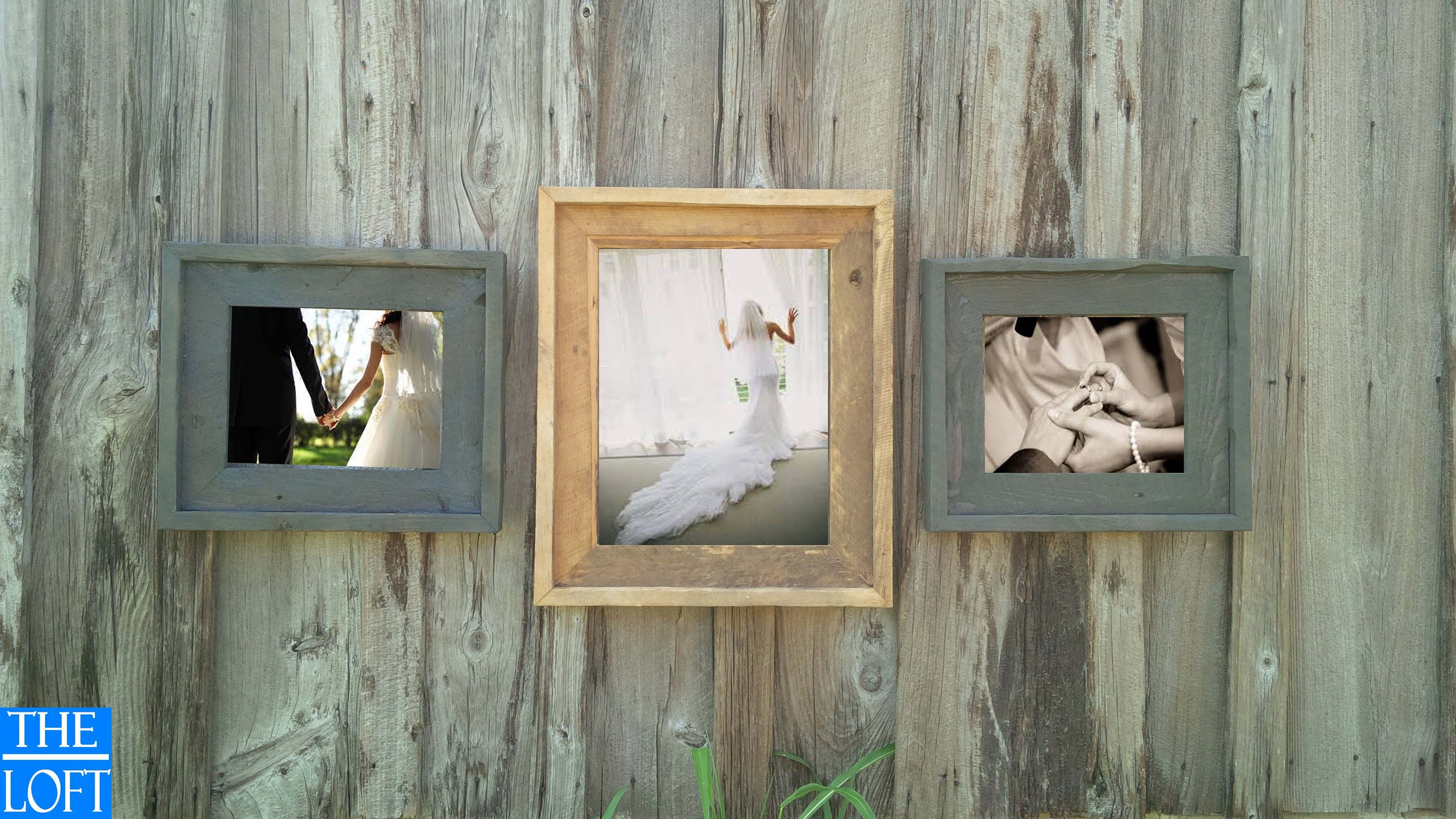 gallery wall all finishes includes 16x20 two 11x14 frames the loft signature quality handmade rustic barn wood frame sale - Wood Frame Wall