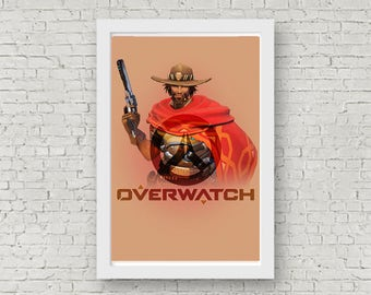 Overwatch MCCREE Poster, Game Poster, Flat Print Design, Digital Printable Poster, Blizzard wall art, Instant Download, game art