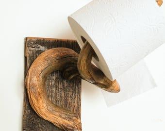 Driftwood Toilet Paper Holder, Wall Mount Roll Hanger, Bathroom Decoration