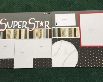 SUPERSTAR Pre-made Scrapbook 12x12 double page spread, sports, baseball