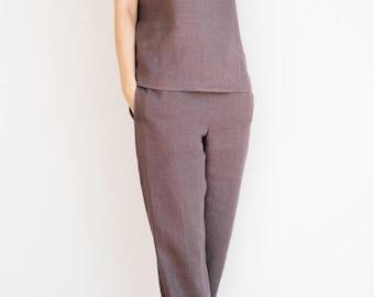 Dusty lavender pajama pants / Linen pants / Linen trousers