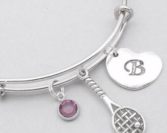 Tennis racket heart initial charm bracelet | tennis bangle | personalised tennis bracelet | tennis jewelry | tennis gift