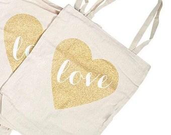 Glitter Heart Tote Bag Set