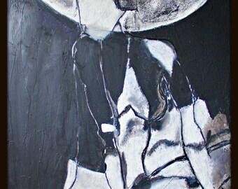Watertight II.  Original oil painting, modern, contemporary, black, white, female, woman, framed